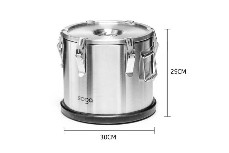 SOGA 2x 304 30*29cm Stainless Steel Insulated Food Carrier Food Warmer