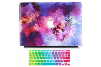 """Marble Frosted Matte Hard Case with Free Keyboard Cover for MacBook Pro 13"""" 2016-2018 A1706 A1989 (With Touch Bar)-Colorful Paint 7"""
