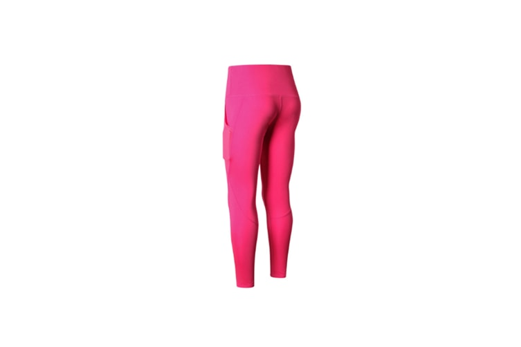 Women Sports Trouser Gym Workout Fitness Yoga Pant Legging With Side Pocket - Rose Red Red XL