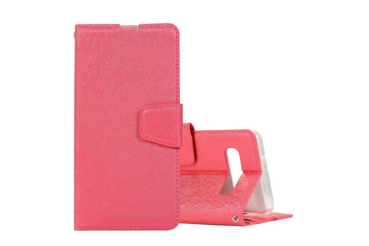 For Samsung Galaxy S10 PLUS Case Magenta Silk Texture Leather Wallet Folio Cover