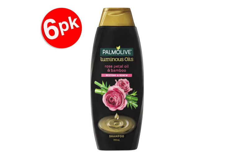 6x Palmolive 350ml Strengthen/Protect Luminous Rose Petal Oil/Bamboo Shampoo
