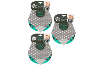 3PK Tommee Tippee Teethe N Chew Bandana Cotton Bib f/ Baby/Infant 3m+ w/ Teether