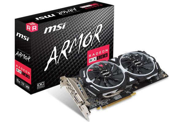 MSI AMD RX 580 ARMOR 8GB OC Video Card - GDDR5 2xDP/2xHDMI/DVI CF VR Ready 1366MHz