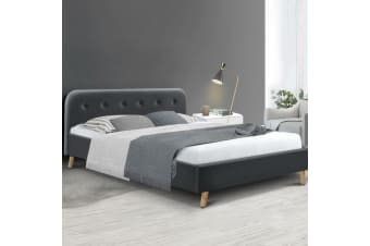 Artiss Queen Size Bed Frame Base Mattress Wooden Charcoal POLA