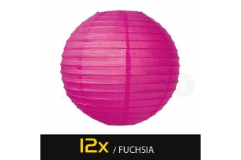 """12 Paper Lanterns for Wedding Party Festival Decoration - Mix and Match Colours  -  Fuchsia12""""Cool White - 3000K"""