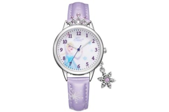 Select Mall Cute Winter Romance Watches Shiny Crown Princess Watches Snowflake Pendant Decorative Quartz Watches for Kids-Purple