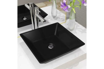 vidaXL Basin Ceramic Square Black 41.5x41.5x12 cm
