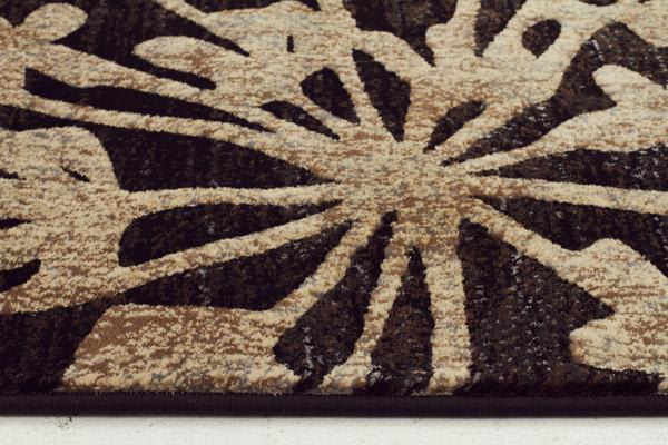 Delicate Floral Pattered Rug Black 150x80cm