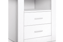 AntiScratch Bedside Table 2 Drawers (White)