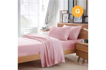 Queen Size Light Pink Color Poly Cotton Fitted Sheet Flat Sheet Pillowcase Sheet Set