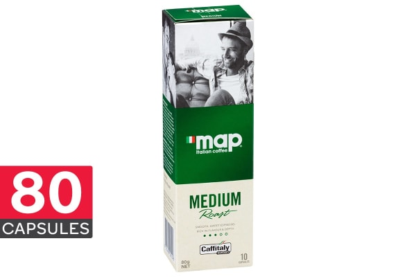 80-Pack Map Coffee Capsules - Medium (8 x 10 Pack)