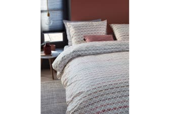 Woven Lines Pink Quilt Cover Set Queen