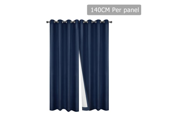 Set of 2 140CM Blockout Eyelet Curtain (Navy)