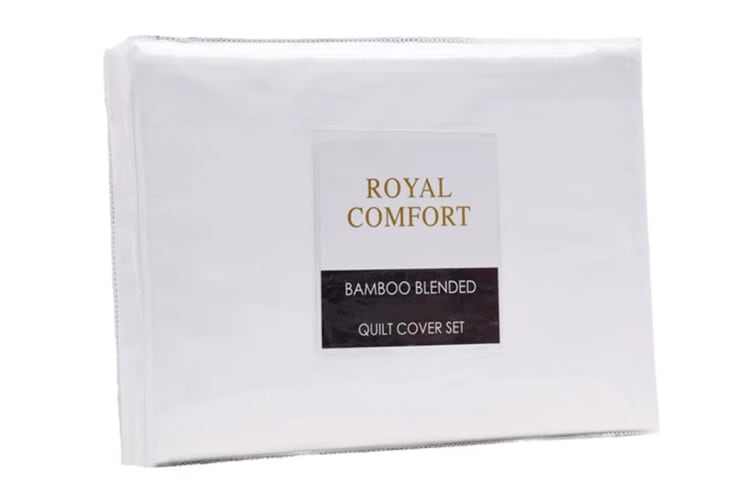 Royal Comfort Blended Bamboo Quilt Cover Set (Double, White)