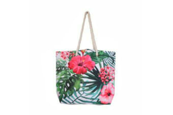 Tropical Tote Bag Handle Large Beach Shopping Summer Floral/Toucan/Palm Design - Palms
