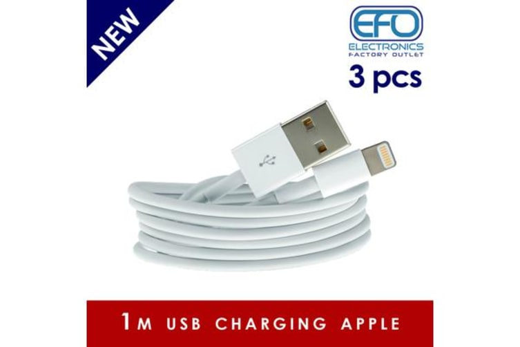 3Pc 1M Usb Data Charge Cable Lightning Pin Connector For Apple Iphone Ipad 3X