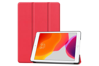 For iPad 10.2 Custer Texture Horizontal Flip Smart PU Leather Case   Smart Flip Cover Red