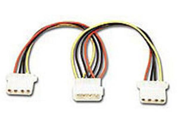 Connectland 4 Pin Power Molex Splitter Adapter 18cm Cable 1x 5.25' Male to 2x 5.25' Female