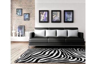 Zebra Delux Black And White Rug 320x230cm