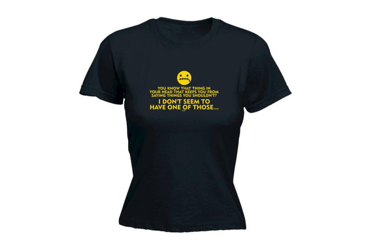 123T Funny Tee - You Know That Thing In Your Head Keeps From Saying Things - (XX-Large Black Womens T Shirt)