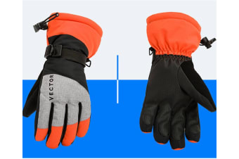Ski Gloves,Winter Warm Waterproof Snow Gloves For Skiing,Snowboarding Orange M