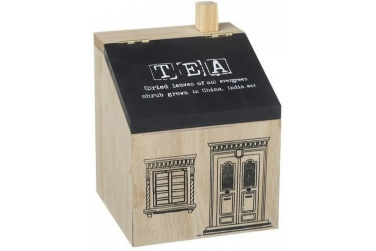 Wooden House Tea Caddy (Wood) (12cm x 12cm x 16.3cm)