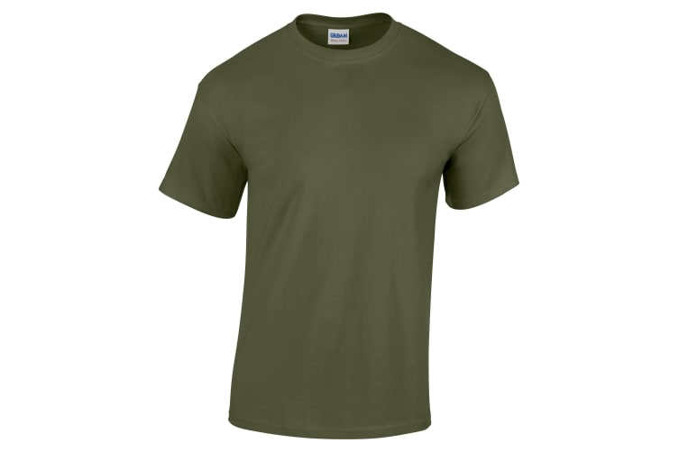Gildan Childrens Unisex Heavy Cotton T-Shirt (Pack Of 2) (Military Green) (XS)
