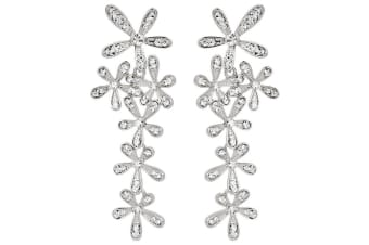 Magnolia Earrings w/Swarovski Crystals-White Gold/Clear