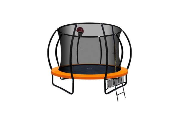 Everfit 10FT Trampoline Mat with Basketball Hoop (Orange)