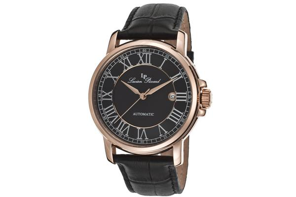 Lucien Piccard Rioja Automatic Rose-Tone Steel Case Black Dial Black Genuine Leather Strap (LP-12393-RG-01)
