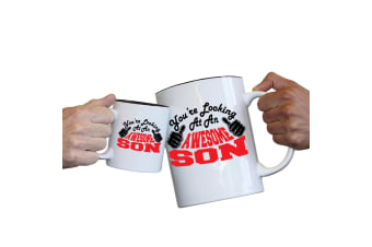 123T Novelty Funny Giant 2 Litre Mugs - Son Youre Looking Awesome