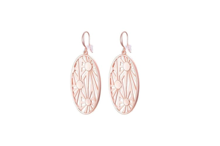 Fable Womens/Ladies Oval Cutwork Dangle Earrings (Rose Gold) (One Size)