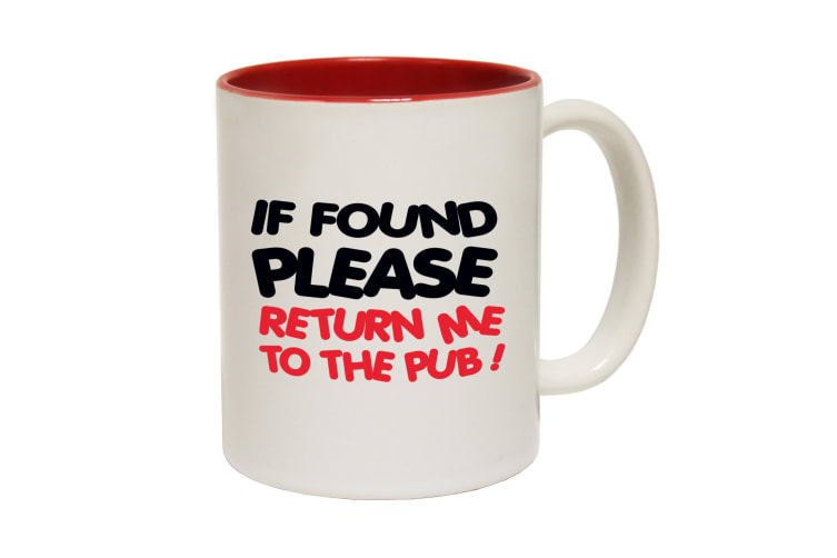 123T Funny Mugs - If Found Return Pub - Red Coffee Cup