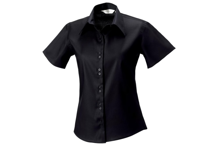 Russell Collection Ladies/Womens Short Sleeve Ultimate Non-Iron Shirt (Black) (M)