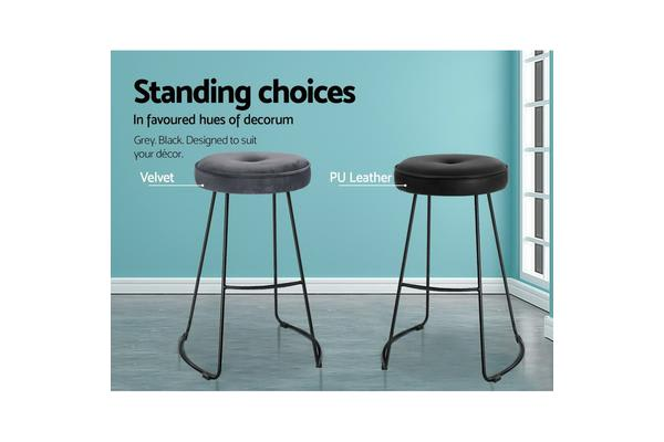 2xArtiss ORION Bar Stools Industrial Bar Stool Modern Chairs Suede Fabric Grey