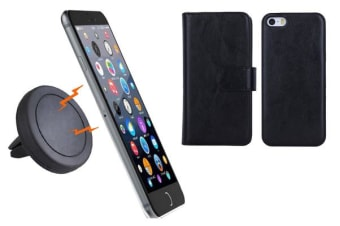 TODO Magnetic Quick Snap Car Air Vent Mount Leather Card Case Iphone 6+ Plus - Black