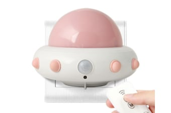 Select Mall LED Creative Flying Saucer Remote Night Light Bedroom Bedside Children Starting Night Induction Lamp-Pink
