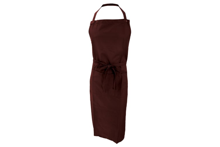 Jassz Bistro Unisex Bib Apron With Pocket / Barwear (Pack of 2) (Brown) (One Size)