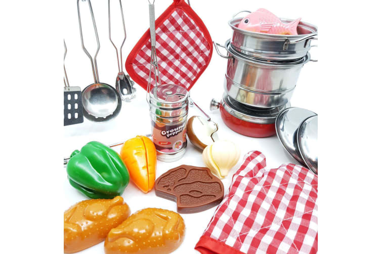 Deluxe Toy Kitchen Cookware Set with Pretend Food