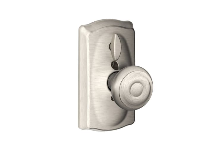 Schlage Keypad Lever with Camelot Trim and Georgian Knob with Flex Lock (Satin Nickel)