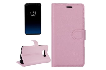 For Samsung Galaxy S8 PLUS Wallet Case Lychee Leather Horizontal Flip Cover Pink