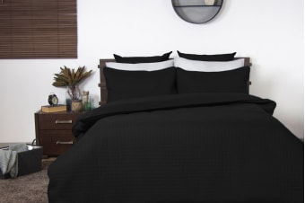 Ardor Boudoir Quilted Quilt Cover Set (Black)