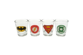 DC Comics Official Shot Glass Set (Pack Of 4) (Clear) (One Size)