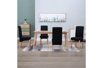vidaXL Dining Chairs 4 pcs Black Fabric