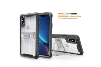 Transparent Honeycomb For iPhone XS X Case Armour Phone Cover KickStand