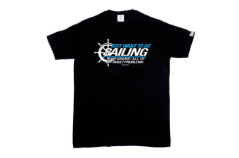 Ocean Bound Sailing Tee - I Just Want To Go And Ignore - (3X-Large Black Mens T Shirt)