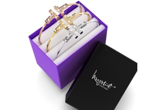 Boxed 3pc T Bar Bangle Set Embellished with Swarovski crystals
