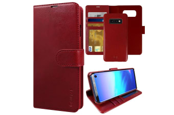 ZUSLAB Galaxy S10e Genuine Leather Detachable Case with Credit Card Holder Slot Wallet for Samsung - Red