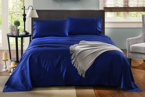 Royal Comfort Kensington 1200TC 100% Egyptian Cotton Stripe Bed Sheet Set (Double, Indigo)