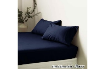 Polyester Cotton Fitted Sheet Set Navy King by Apartmento